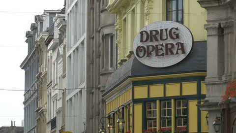 Belgium, Brussels - October, 2016: The Drug Opera restaurant sign in Brussels