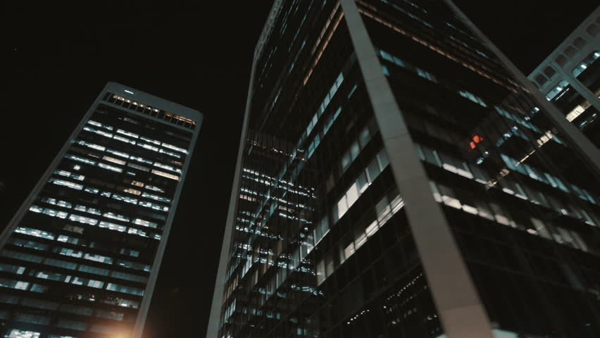 Night reflections in dark skyscrapers windows, Downtown Vancouver, Canada | Shutterstock HD Video #1028715674