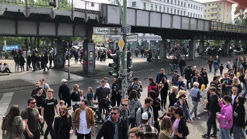 Berlin, Germany - May 01, 2019: People on street in Kreuzberg at myfest celebration on labor day/ 1. may in Berlin, Kreuzberg