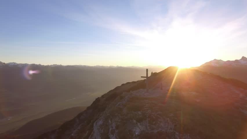 Aerial Drone Footage: Flight over autumn mountains, sunset, summit | Shutterstock HD Video #1028736626