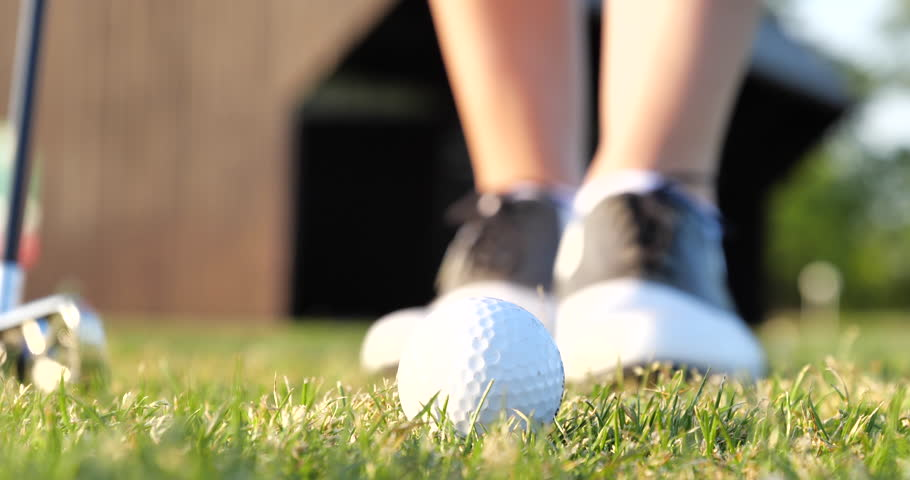 Golf Concept Golf Ball in Grass Ready to Shooting
