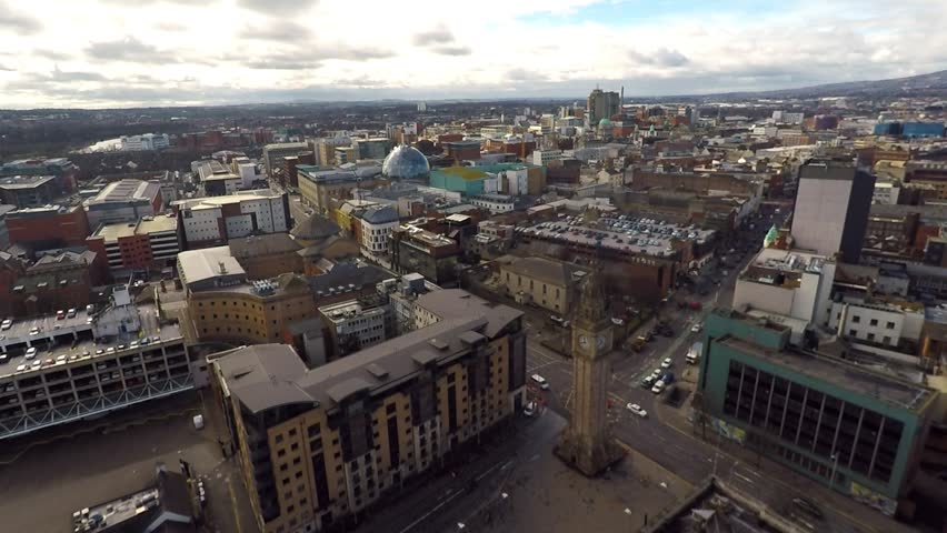 Aerial view of City Centre in Belfast, Northern Ireland. Drone view on buildings from Above.    Shutterstock HD Video #1028757068