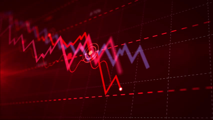 Recession, business crash, markets down, economic collapse and stock crisis concept. Red dynamic downward trend chart. 3d seamless and loopable animation. Royalty-Free Stock Footage #1028764268