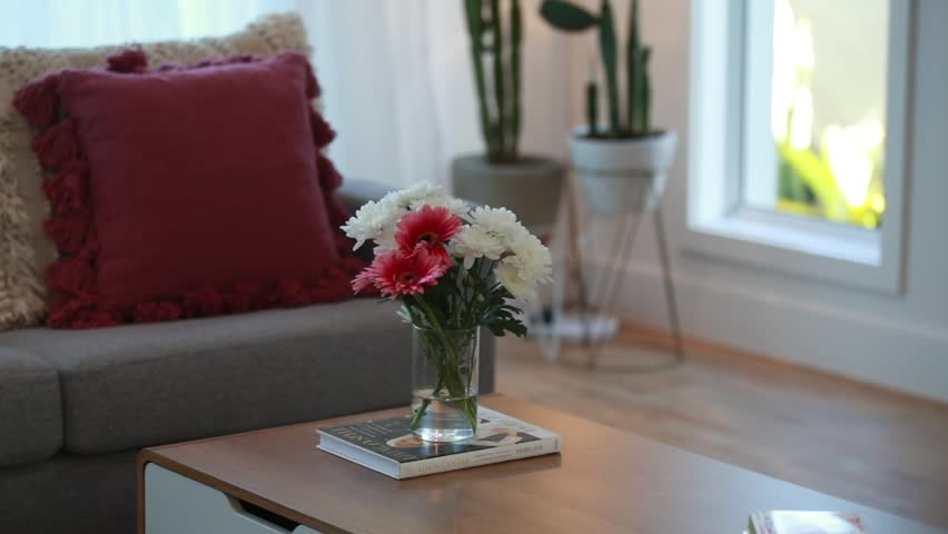 Living room couch with cushions and flowers | Shutterstock HD Video #1028770817
