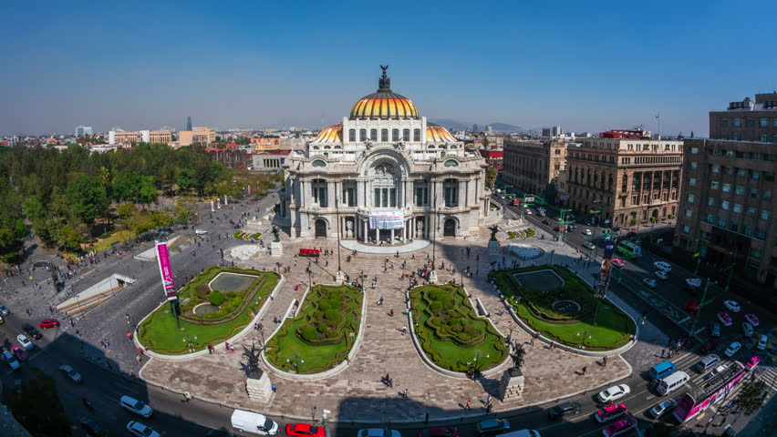 Mexico City, Mexico - January 29, 2019: Zoom in time lapse view of architectural landmark Palacio de Bellas Artes in the Historic Center (Centro Historico) of Mexico City, Mexico, daytime.