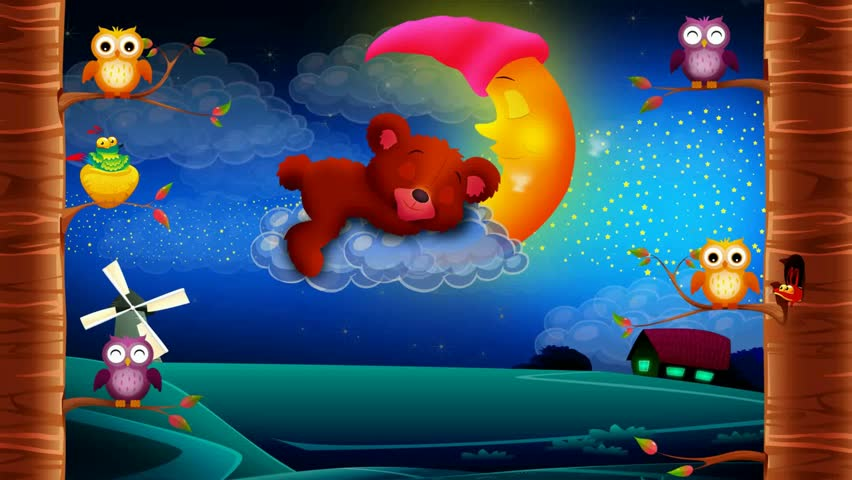 Cute bear cartoon sleeping on clouds, best looped video background for lullabies to put a baby go to sleep and calming , relaxing | Shutterstock HD Video #1028789357