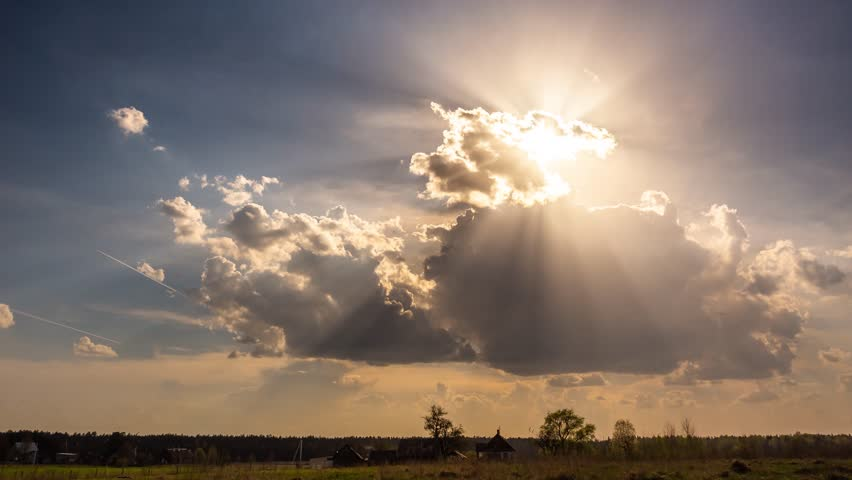 Timelapse of sun rays emerging through fluffy clouds, trust and hope, heaven | Shutterstock HD Video #1028798669