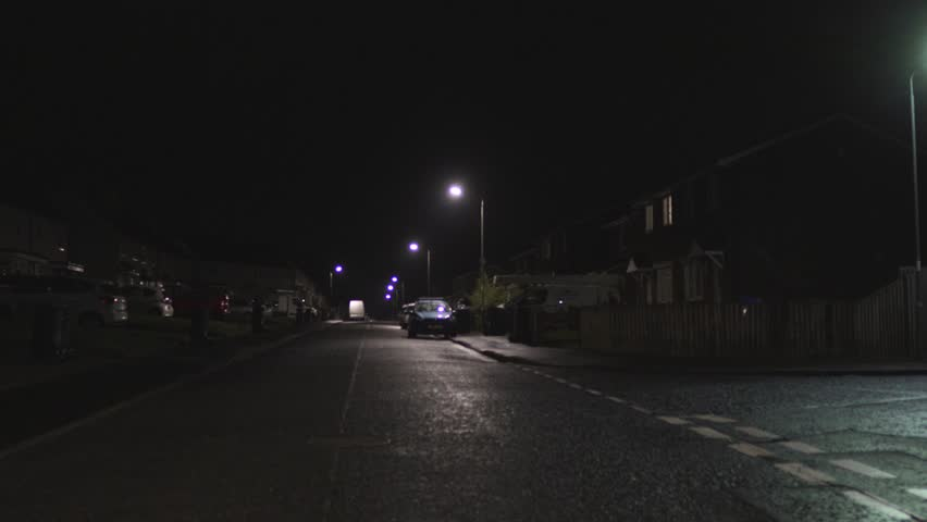 A typical Scottish or UK town street at night