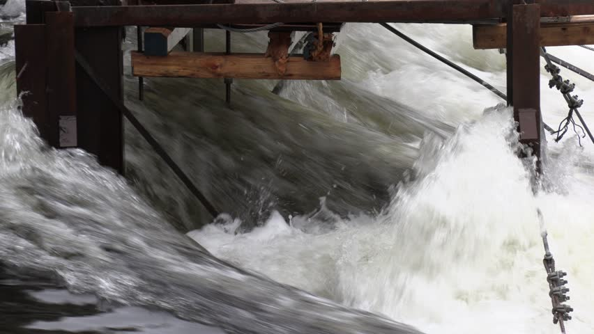 Muskoka, Ontario, Canada May 2019 Massive flooding in Muskoka Canada as flood water levels on rivers and lakes rise | Shutterstock HD Video #1028859146