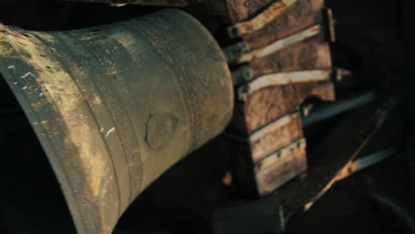 Church Bell, Shot Taken From Below. Bell Moves From Side To Side.   Shutterstock HD Video #1028860403