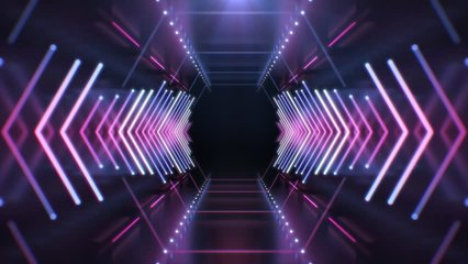 Abstract Neon Hexagon Tunnel endless seamless looped animated background. Technology 4K video concept. Moving forward inside fluorescent ultraviolet glowing light lines.