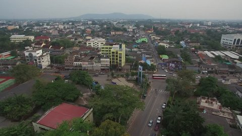 Aerial Shot of Surat Thani, River and City Surat Thani Province, Thailand