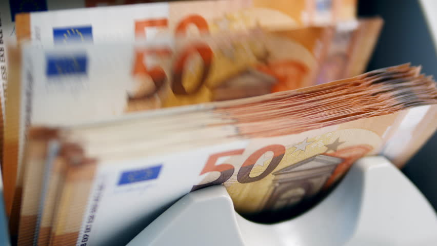 Counting mechanism is processing euros | Shutterstock HD Video #1028905604