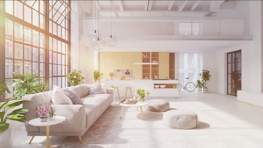 3D-Illustration. loft apartment with living room and kitchen. | Shutterstock HD Video #1028925671