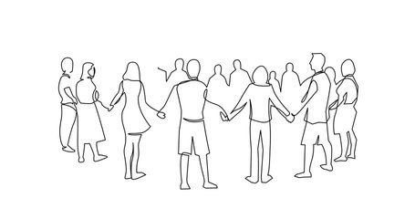 Self drawing animation of Unity, friendship continuous single line drawing. People, friends holding hands together. Teamwork