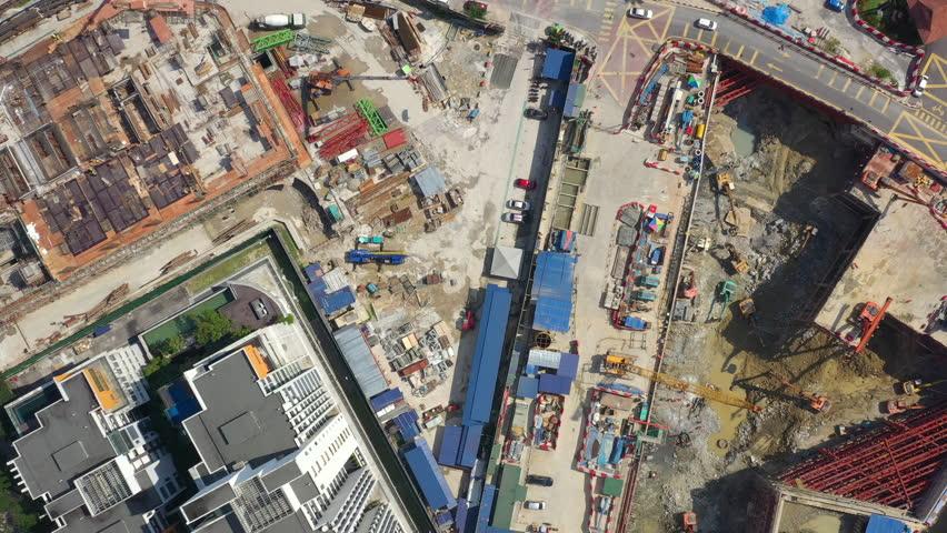 sunny day kuala lumpur downtown construction area aerial topdown panorama 4k malaysia #1028929571