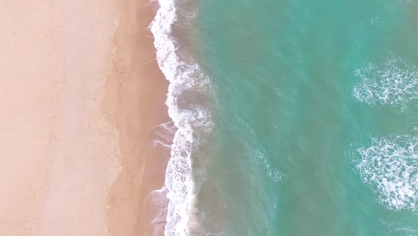 Top view of wavy sea HD Drone Shot. Bird's eye view of Blacksea holiday region. #1028949437