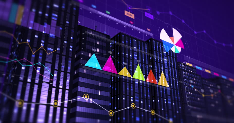 3D Animation Of Business Graphs And Charts. Stock Market And Economy Related 4K City #1028955506