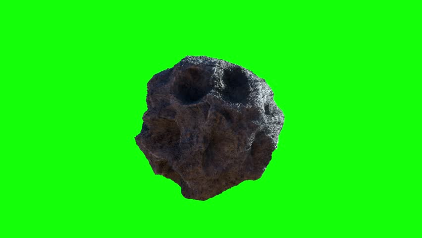 Asteroid meteorite in space render 3d  on green background    Shutterstock HD Video #1028990759