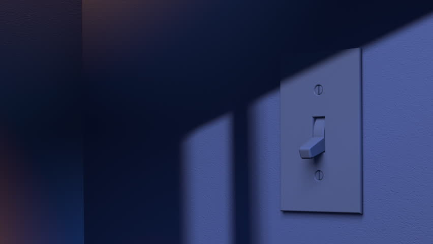 Light Switch Turns On By Itself Illuminating Dark Room. 3D Animation.