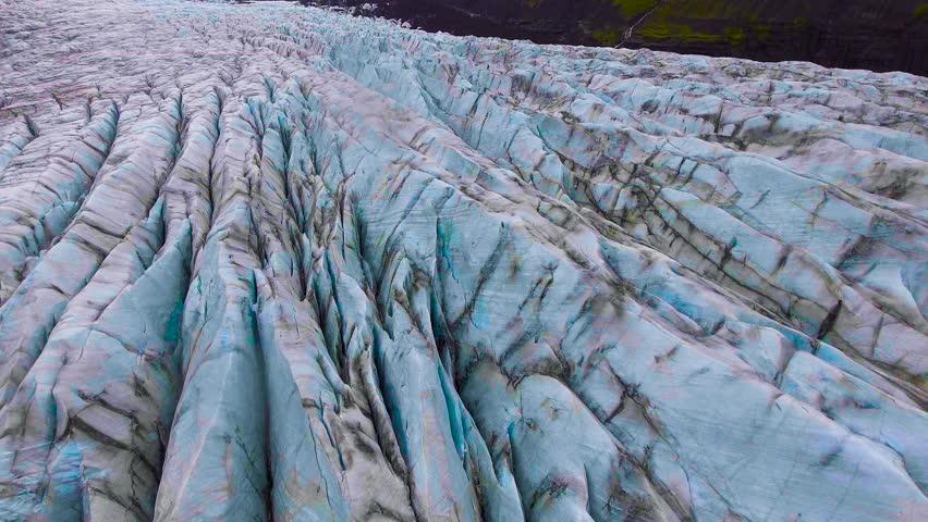 Aerial view beautiful scenery landscape of Svinafellsjokull Glacier in Vatnajokull National Park in Iceland.