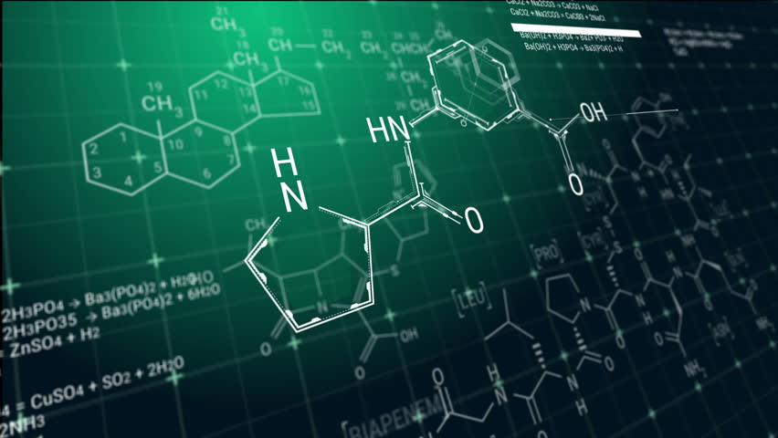 Animation of emerging chemical formulas on green background. Typing chemical reaction equations in abstract digital space.
