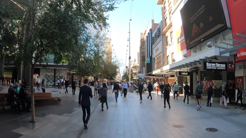Hyper time lapse of person point of view walking on Rundle Mall shopping precinct, a very popular tourist attraction in Adelaide the capital city of South Australia State, Australia.