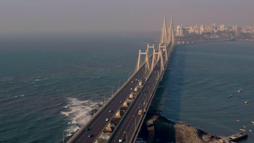Mumbai, India, Worli sea link bridge, 4k aerial drone footage  Royalty-Free Stock Footage #1029022727