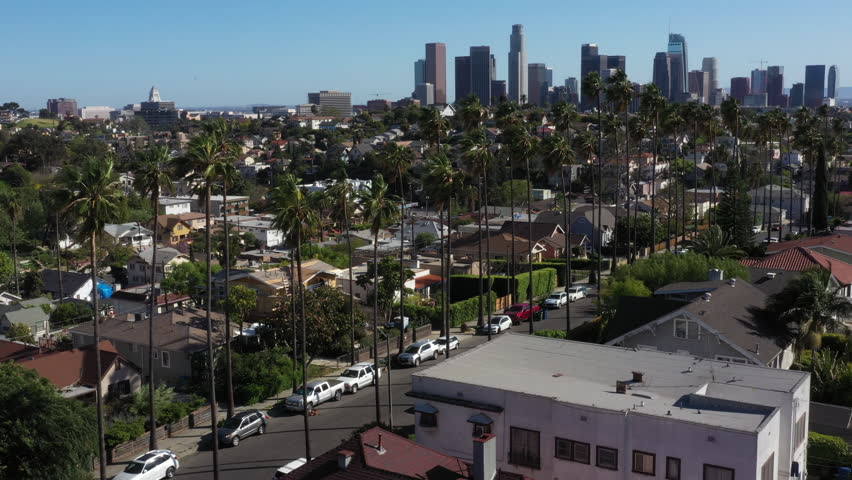 Drone flys over iconic Los Angeles palm tree lined street with the city skyline in the background. | Shutterstock HD Video #1029028739