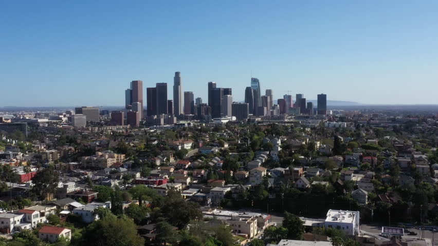 Drone flys over iconic Los Angeles palm tree lined street with the city skyline in the background. | Shutterstock HD Video #1029030560
