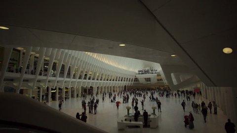 New York City - CIRCA 2017: Manhattan Interior Ocullus World Trade Center Path Station 03