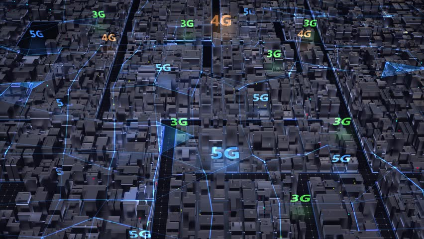Aerial view city in blue colors, connected of plexus various genarations (3G, 4G, 5G ) wireless networks. Smart city and global network and data connections. IoT. ICT. Seamless loop 4k. 3d render.   Shutterstock HD Video #1029111893