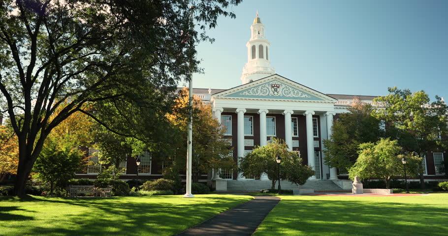 Boston, Massachusetts, USA – October 18, 2018: Harvard Business ivy league school building in Cambridge Massachusetts USA.