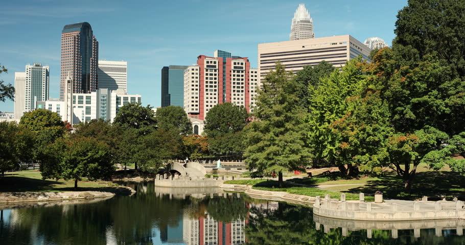 Charlotte, North Carolina, USA - October 22, 2018:  Cityscape view of Charlotte North Carolina from Marshall Park in Mecklenburg County, USA