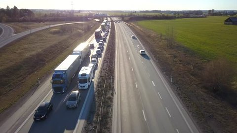 Heavy traffic jam over freeway road