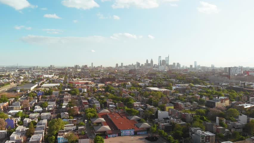 Descending aerial view of Philadelphia skyline from north to south 4K | Shutterstock HD Video #1029139778