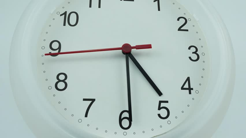 Zoom out Five o'clock White clock face 4k stock footage, with numbers and a ticking arrow, Time concept, Time lapse moving fast.