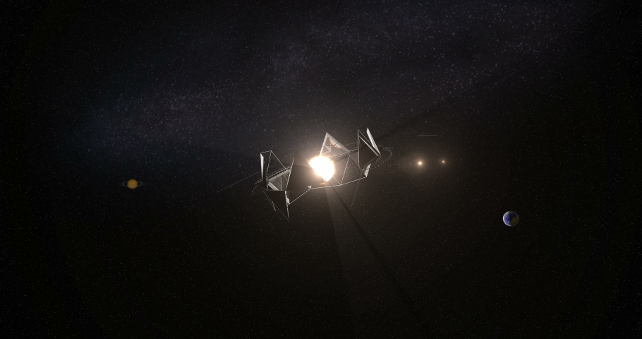 A hypothetic alien megastructure (Dyson swarm, or Dyson sphere) around the KIC 8462852 (Tabby's Star) located in the constellation Cygnus, 1,470 light-years from Earth. Illustration, 3D rendering Royalty-Free Stock Footage #1029169304