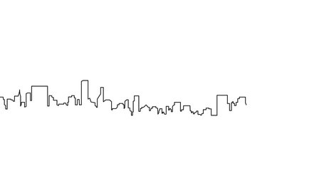 Self drawing animation of Modern cityscape continuous one line  drawing. Metropolis architecture panoramic landscape. New York skyscrapers hand drawn silhouette.