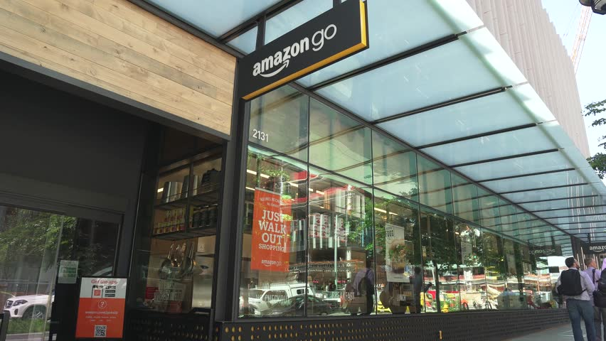 Seattle, Washington/USA - May 6, 2019. Amazon Go is a futuristic store with no checkout required. Sensors automatically detect purchases, customers just walk out and payment goes to mobile phone app.