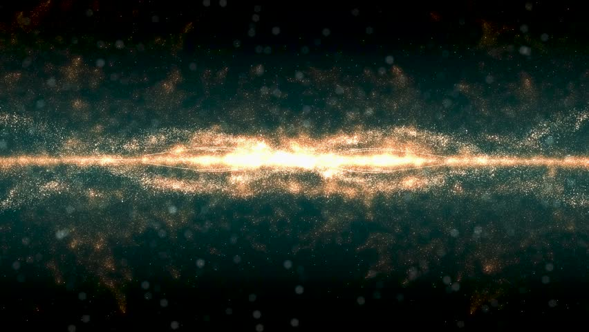 Seamless loop, Dark brown background, digital signature with particles, sparkling waves, curtains and areas with deep depths. The particles are golden light lines. explosion