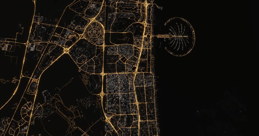Aerial cinematic night view of Dubai artificial Palm Island at Jumeirah Beach. Camera flying forward and tilting down. Street and traffic lights shining. 3d rendering animation. United Arab Emirates