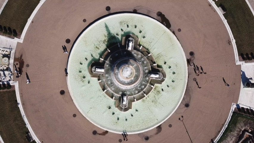 Detroit fountain from above. Aerial drone video on Belle Isle, Detroit Michigan