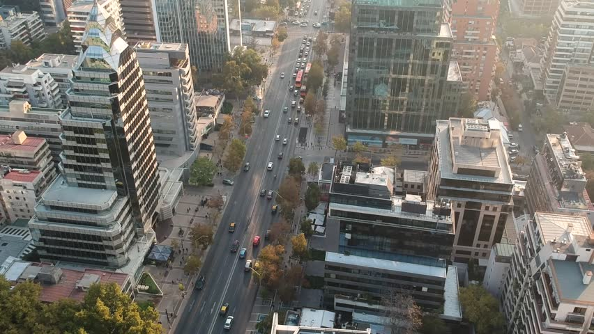 Aerial Drone Shot of street flying across concrete jungle, Santiago Chile | Shutterstock HD Video #1029262790