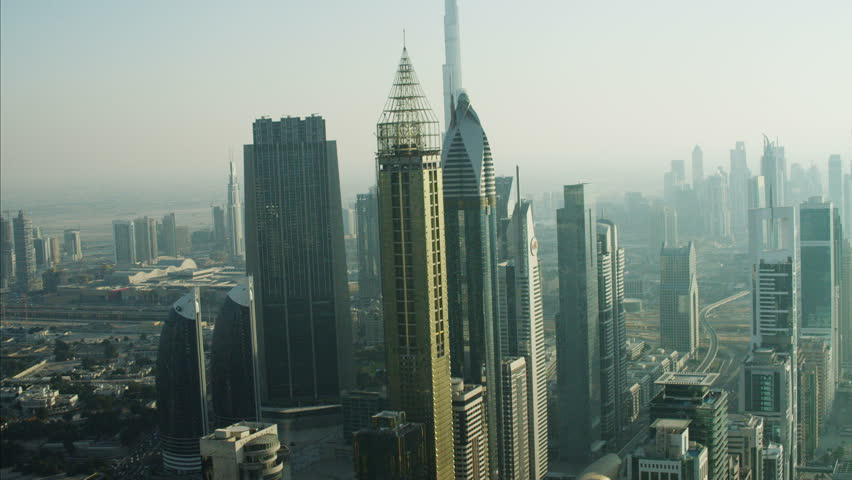 Aerial Dubai Burj Khalifa Sheikh Zayed Road Dubai Metro Rail UAE | Shutterstock HD Video #10292663