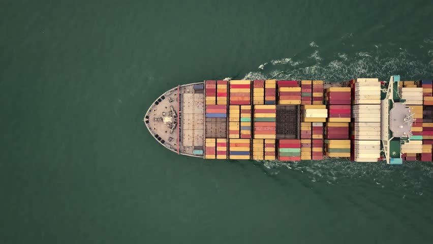 Aerial View drone 4k footage Of Ocean Container Ship in Hong Kong.