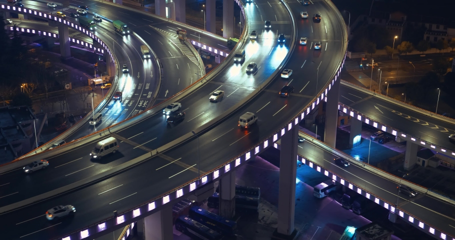 car traffic moving on multi row Spiral Nanpu bridge in the evening, Shanghai #1029325505