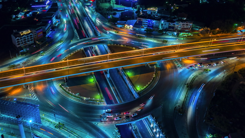 4K,Time lapse night  traffic of the expressway, motorway and highway in the detail of Circle intersection  | Shutterstock HD Video #1029341402