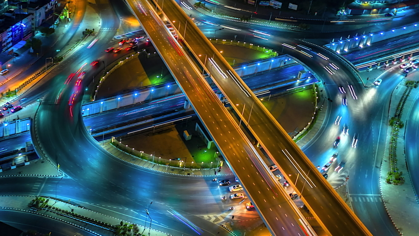 4K,Time lapse night  traffic of the expressway, motorway and highway in the detail of Circle intersection