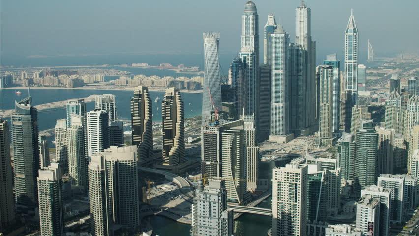 Aerial Dubai City Intersection Sheikh Zayed Road desert traffic UAE | Shutterstock HD Video #10293497